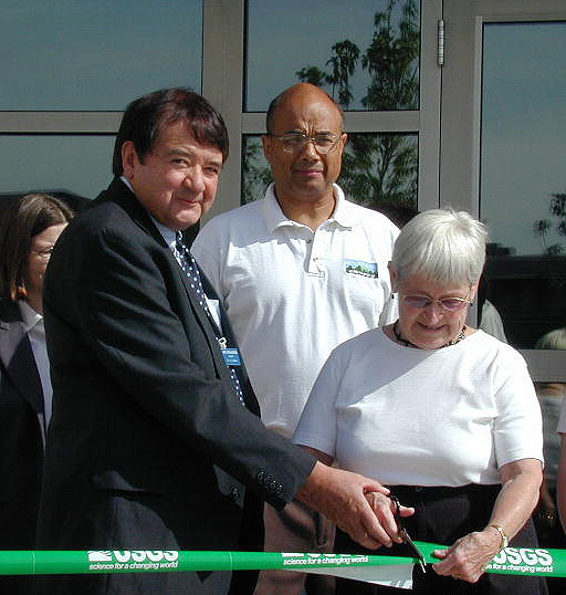Flagstaff Mayor Joe Donaldson and Carolyn Shoemaker cut the ribbon for the new Shoemaker Center for Astrogeology, July 27, 2002. More photos at  USGS Astrogeology Research Program