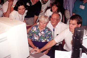 Caroline and Gene Shoemaker (and others) watching the impact of Shoemaker-Levy 9 on Jupiter.